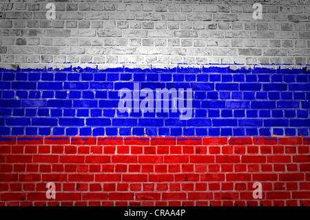 An image of the Russian Federation flag painted on a brick wall in an urban location - Stock Photo