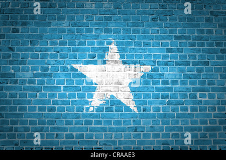 An image of the Somalia flag painted on a brick wall in an urban location - Stock Photo