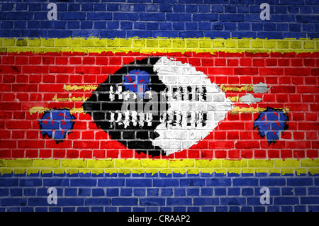 An image of the Swaziland flag painted on a brick wall in an urban location - Stock Photo