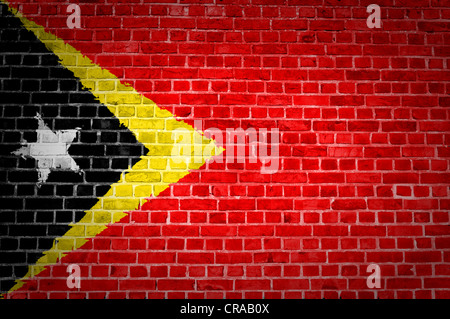An image of the Timor-Leste flag painted on a brick wall in an urban location - Stock Photo