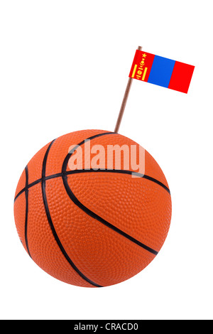 Volley ball with a small paper national flag - Stock Photo