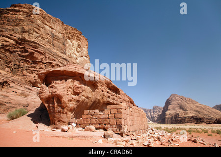 House from Lawrence of Arabia, ruin, wall, desert, Wadi Rum, Hashemite Kingdom of Jordan, Middle East, Asia - Stock Photo
