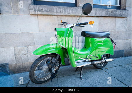 Light green DDR scooter'Schwalbe', Stuttgart, Baden-Wuerttemberg, southern Germany, Germany, Europe - Stock Photo