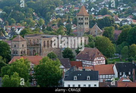 View towards the monastery ruins from the tower of the Stadtkirche, Town Church, Bad Hersfeld, Hesse, Germany, Europe - Stock Photo
