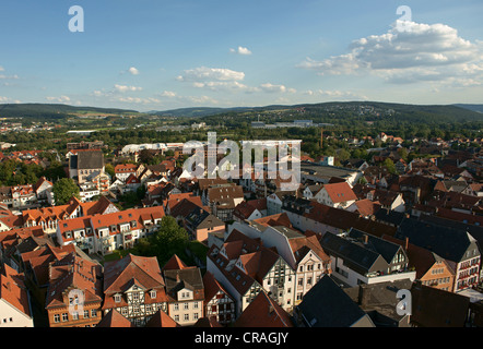 View from the tower of the Stadtkirche, Town Church, over Bad Hersfeld, Hesse, Germany, Europe - Stock Photo