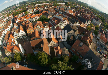View from the tower of the Stadtkirche, Town Church, over Bad Hersfeld, fish eye shot, Hesse, Germany, Europe - Stock Photo
