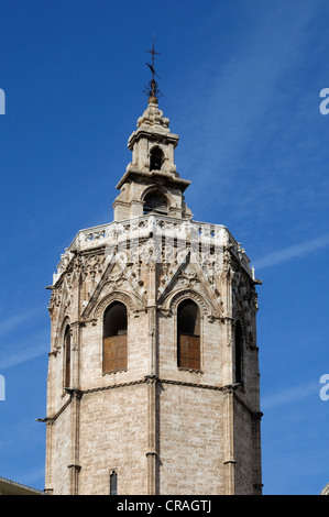 Bell tower of Miguelete, Cathedral, Valencia, Spain, Europe - Stock Photo