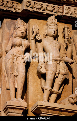 Decorative sculptures, Hindu deities, Khajuraho Group of Monuments, UNESCO World Heritage Site, Madhya Pradesh, - Stock Photo