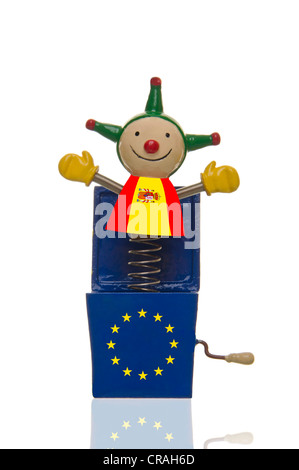 Jack in the box, devil's box, with the European stars and the Spanish flag, symbolic image for Spain and the euro - Stock Photo