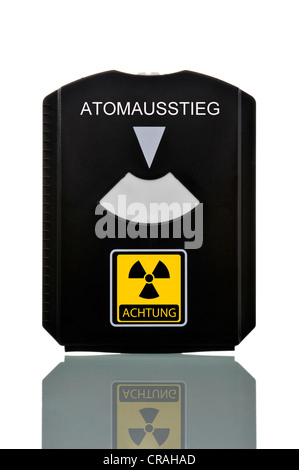 Parking disc with atomic sign and label Atomausstieg or nuclear phase-out, symbolic image - Stock Photo