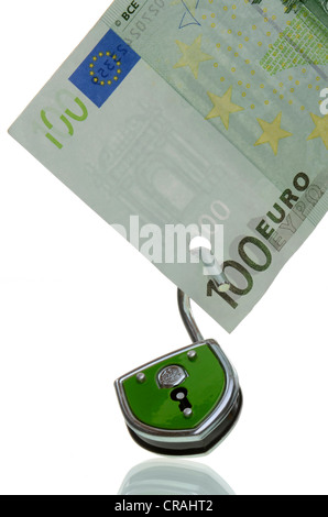 100-euro bill with an open lock, symbolic image for the unsafe euro, euro crisis - Stock Photo