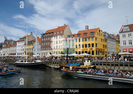 Boats in the harbor, Nyhavn, Copenhagen, Denmark, Scandinavia, Europe, PublicGround - Stock Photo