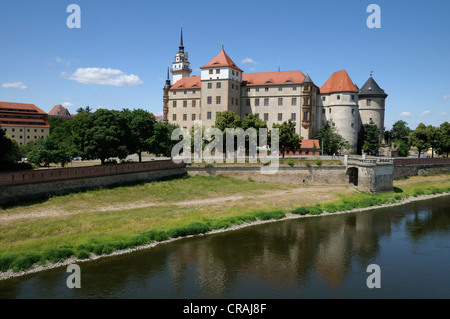 Schloss Hartenfels castle, Torgau, Saxony, Germany, Europe - Stock Photo