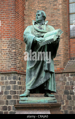 Martin Luther memorial in front of the St.-Marien-Kirche church, Mitte district, Berlin, Germany, Europe - Stock Photo