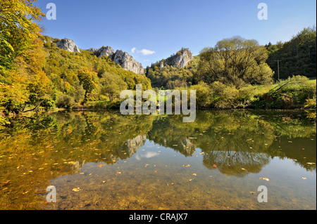 Jurassic limestone rocks and autumnal beech forest are reflected in the Danube, Tuttlingen district, Baden-Wuerttemberg