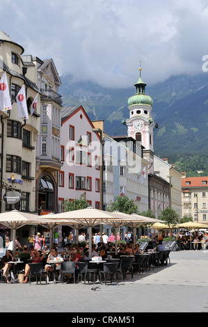 Maria-Theresien-Strasse street in the historic district of Innsbruck, Tyrol, Austria, Europe - Stock Photo