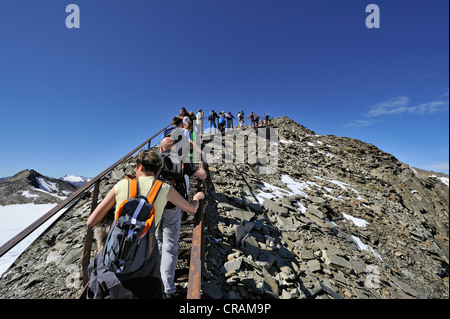 Mass tourism on the 3210 m high Top of Tyrol observation deck, Stubai Alps, Tyrol, Austria, Europe - Stock Photo