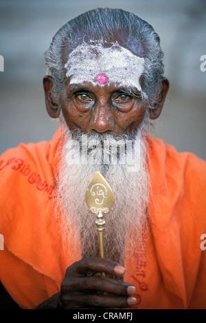 Sadhu with a white beard, portrait, Tiruchendur, Tamil Nadu, southern India, India, Asia - Stock Photo
