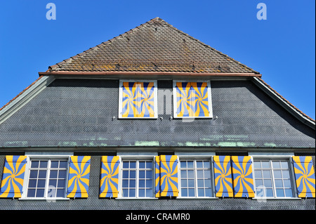Detail, Traditional Swiss half-timbered house, Steckborn, Canton Thurgau, Switzerland, Europe - Stock Photo
