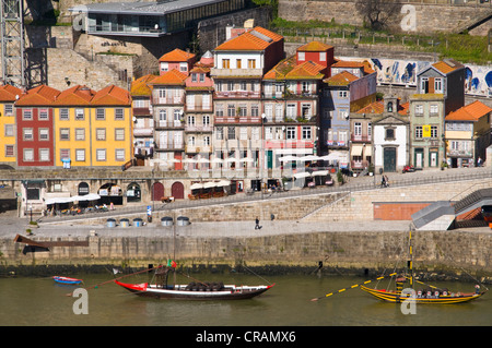 Buildings on the banks of Rio Douro, Porto, Portugal, Europe - Stock Photo