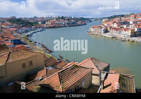 City view with the Rio Douro river, Porto, Portugal, Europe - Stock Photo