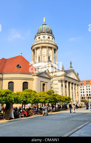 French Church of Friedrichstadt, French Cathedral and a beer garden on Gendarmenmarkt square in Berlin, Germany, - Stock Photo