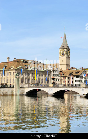 View across the Limmat River in the historic district of Zurich, Fraumuenster abbey, Canton of Zurich, Switzerland, - Stock Photo