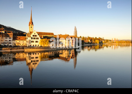 View over the Rhine to the monastery of St. George in the old town of Stein am Rhein, Canton Schaffhausen, Switzerland, - Stock Photo