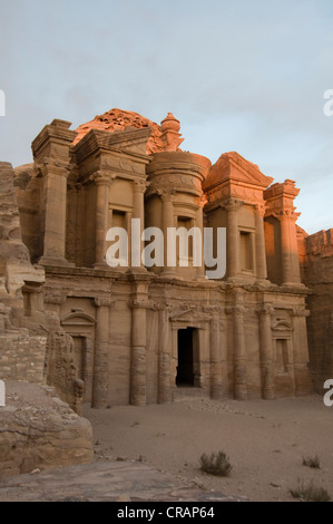 Ancient tomb carved from the rock, Ed Deir, Ad Deir, Petra, Jordan, Middle East, Asia - Stock Photo