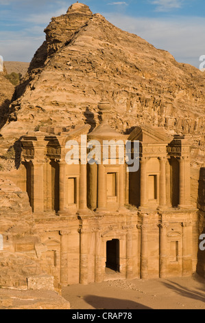 Ancient tomb carved in the rock, Ed Deir, Ad Deir, Petra, Jordan, Middle East, Asia - Stock Photo