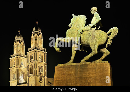 Equestrian statue of the military leader and mayor Hans Waldmann on the Muensterbruecke bridge, unveiled in 1937, - Stock Photo