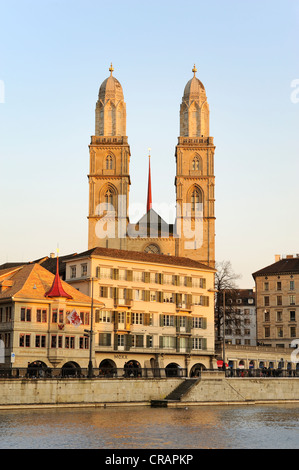 The twin towers of the Grossmuenster great minster in the old town of Zurich, Canton Zurich, Switzerland, Europe - Stock Photo