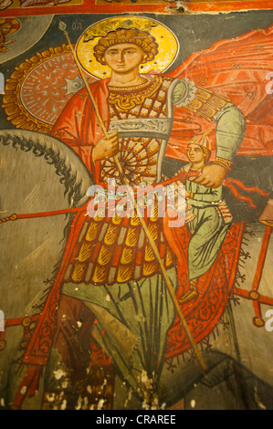 Byzantine fresco in a painted barn-roofed Greek Orthodox church, UNESCO World Heritage Site, Troodos Mountains, - Stock Photo