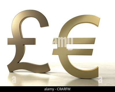 Pound symbol and Euro symbol made of brass - Stock Photo