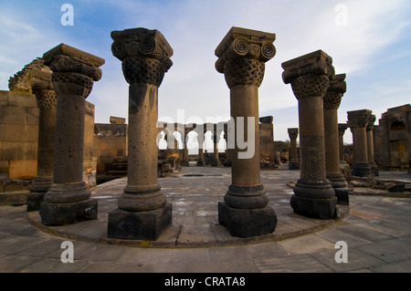 Ruins of Zvartnots Cathedral, Armenia, Caucasus Region, Eurasia - Stock Photo