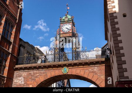 The Eastgate clock in Chester stands on the site of the original entrance to the Roman fortress of Deva Victrix - Stock Photo