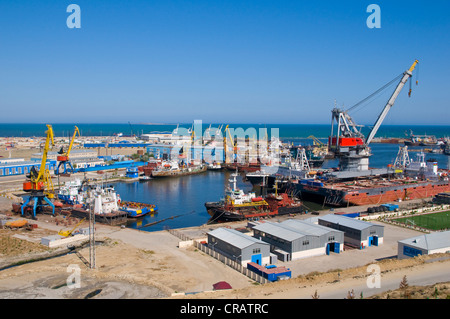 View over the port of Baku, Azerbaijan, Caucasus, Middle East - Stock Photo