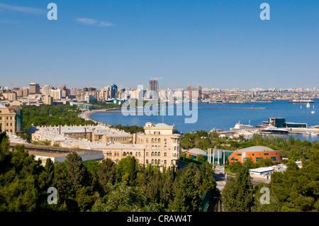 View of the coast of Baku, Baku Bay, Azerbaijan, Middle East - Stock Photo
