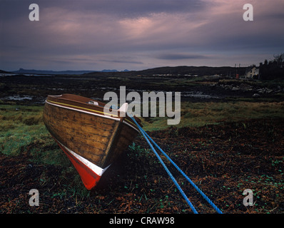 Freshly painted boat on shore at Arisaig - Stock Photo