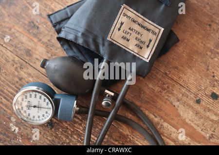 A sphygmomanometer lies on a table at the Slipway clinic in Monrovia, Montserrado county, Liberia on Monday April - Stock Photo