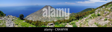 Volcano on Salina island, in the back Filicudi and Alicudi islands, Aeolian Islands, Sicily, southern Italy, Italy, - Stock Photo