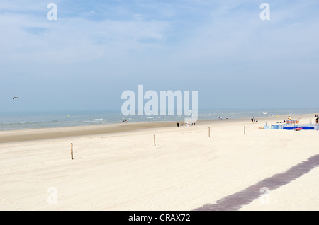 Wide sandy beach at Le Touquet in the region of Picardy in northern France - Stock Photo