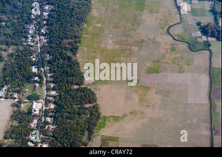 Aerial view of houses and fields on the outskirts of Guwahati, Assam, India, Asia - Stock Photo