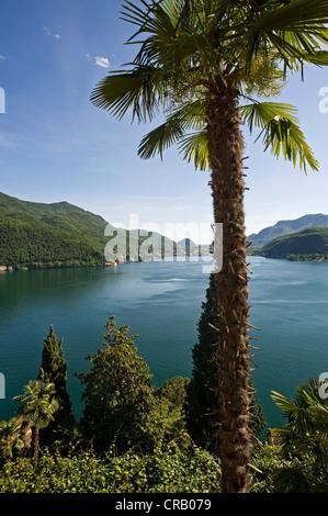 View across Lake Lugano, Lake Lago di Lugano, near Morcote, Ticino, Switzerland, Europe - Stock Photo