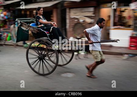 Rickshaw, Calcutta, Kolkata, West Bengal, India, Asia - Stock Photo