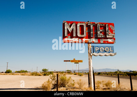Old motel sign along Route 66 in Southern California USA - Stock Photo