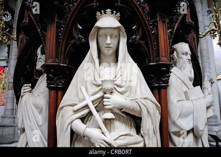 Liege, Belgium. Cathedrale St Paul. Interior. Pulpit detail - Stock Photo