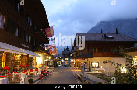 View of Murren, Switzerland and Mountains at twilight. - Stock Photo