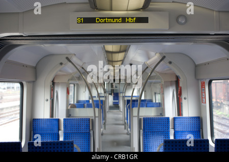 Interior of German Railways S-Bahn (suburban) passenger train - Stock Photo