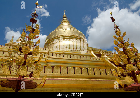 Golden Shwezigon Paya Pagoda, Bagan, Myanmar, Burma, Southeast Asia, Asia - Stock Photo
